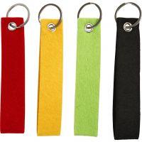 Nøkkelsnor, str. 3x15 cm, svart, grønn, rød, gul, 4 stk./ 1 pk.