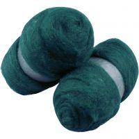 Kardet ull, grønn, 2x100 g/ 1 pk.