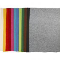 Hobbyfilt, 42x60 cm, tykkelse 3 mm, ass. farger, 120 ark/ 1 pk.