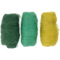 Kardet ull, grønn/turkis harmoni, 3x10 g/ 1 pk.