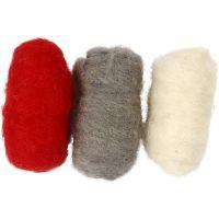 Kardet ull, rød/hvit harmoni, 3x10 g/ 1 pk.