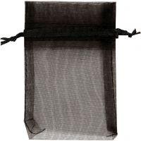 Organzapose, str. 7x10 cm, svart, 10 stk./ 1 pk.