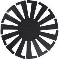 Flett-lett-sjablong, H: 8 cm, dia. 14 cm, svart, 10 stk./ 1 pk.