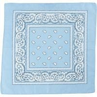 Hårbandsbandana, str. 55x55 cm, lys blå, 1 stk.
