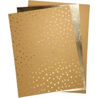 Lærpapir, 21x27,5+21x28,5+21x29,5 cm, tykkelse 0,55 mm, ensfarget,folie,print, 3 ark/ 1 pk.