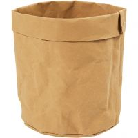 Oppbevaringspose, H: 12 cm, dia. 11 cm, 350 g, lys brun, 1 stk.