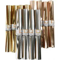 Lærpapir, B: 49 cm, tykkelse 0,55 mm, ensfarget,folie, gull, rosa gull, sølv, 12x1 m/ 1 pk.