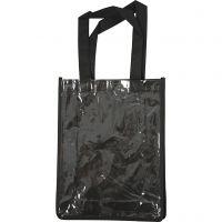 Veske med plastfront, str. 30x23x7 cm, svart, 1 stk.