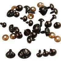 Bamseøyne og -snuter, dia. 10+12,5+15 mm, str. 15+25 mm, 12 ass./ 1 pk.