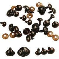 Bamseøyne og -snuter, dia. 10-15 mm, str. 15-25 mm, 130 ass./ 1 pk.