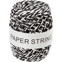 Papirsnor, tykkelse 1 mm, svart/hvit, 50 m/ 1 rl.