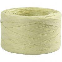 Raffia papirgarn, B: 7-8 mm, lys grønn, 100 m/ 1 rl.