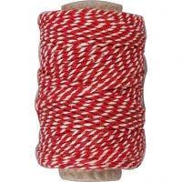 Bomullssnor, tykkelse 1,1 mm, rød/hvit, 50 m/ 1 rl.