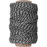 Bomullssnor, tykkelse 1,1 mm, svart/hvit, 50 m/ 1 rl.