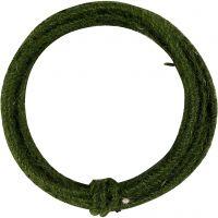 Jute wire, tykkelse 2-4 mm, grønn, 3 m/ 1 pk.