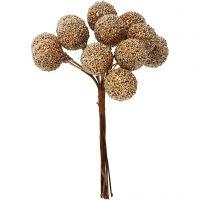 Kunstige bær, dia. 15 mm, gull, 12 stk./ 1 pk.
