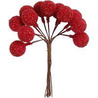 Kunstige bær, dia. 15 mm, julerød, 12 stk./ 1 pk.
