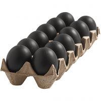Egg, H: 6 cm, svart, 12 stk./ 1 pk.