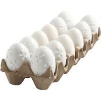 Egg, preget mønster, H: 6 cm, hvit, 12 stk./ 1 pk.