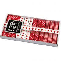 Dekorasjonsbånd, B: 10 mm, rød/hvit harmoni, 12x1 m/ 1 pk.
