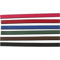 Imitert lærbånd, B: 10 mm, tykkelse 3 mm, ass. farger, 6x1 m/ 1 pk.