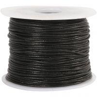Lærsnor, tykkelse 1 mm, svart, 50 m/ 1 rl.