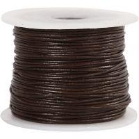 Lærsnor, tykkelse 1 mm, brun, 50 m/ 1 rl.