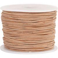 Lærsnor, tykkelse 1 mm, beige, 50 m/ 1 rl.