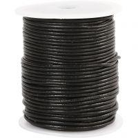 Lærsnor, tykkelse 2 mm, svart, 50 m/ 1 rl.