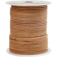 Lærsnor, tykkelse 2 mm, beige, 50 m/ 1 rl.