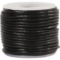 Lærsnor, tykkelse 1 mm, svart, 10 m/ 1 rl.