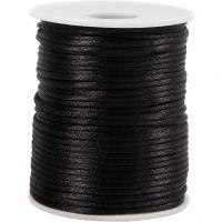 Satengsnor, tykkelse 2 mm, svart, 50 m/ 1 rl.