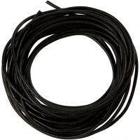 Lærsnor, tykkelse 2 mm, svart, 4 m/ 1 rl.