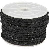 Flettesnor, tykkelse 2,5 mm, svart, 25 m/ 1 rl.