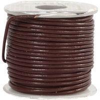 Lærsnor, tykkelse 1 mm, brun, 10 m/ 1 rl.