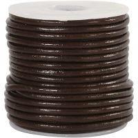 Lærsnor, tykkelse 2 mm, brun, 10 m/ 1 rl.