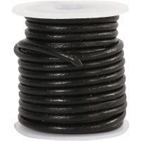 Lærsnor, tykkelse 3 mm, svart, 5 m/ 1 rl.