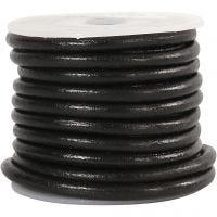 Lærsnor, tykkelse 4 mm, svart, 5 m/ 1 rl.
