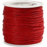 Bomullssnor, tykkelse 1 mm, rød, 40 m/ 1 rl.