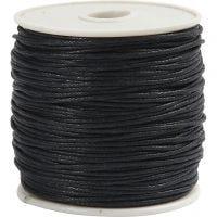 Bomullssnor, tykkelse 1 mm, svart, 40 m/ 1 rl.