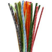 Piperensere, stripete, L: 30 cm, tykkelse 6 mm, ass. farger, 30 ass./ 1 pk.