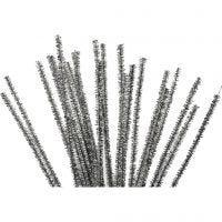 Piperensere, L: 30 cm, tykkelse 6 mm, glitter, sølv, 24 stk./ 1 pk.