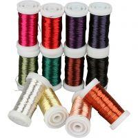 Myk smykketråd, tykkelse 0,5 mm, ass. farger, 12x50 m/ 1 pk.
