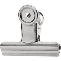 Metallklips, B: 7,5 cm, sølv, 6 stk./ 1 pk.