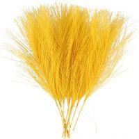 Kunstige fjær, L: 15 cm, B: 8 cm, gul, 10 stk./ 1 pk.