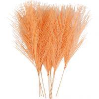 Kunstige fjær, L: 15 cm, B: 8 cm, orange, 10 stk./ 1 pk.