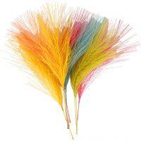 Kunstige fjær, L: 15 cm, B: 8 cm, ass. farger, 10 stk./ 1 pk.