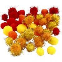 Pomponer, dia. 15+20 mm, orange, rød, gul, 48 ass./ 1 pk.