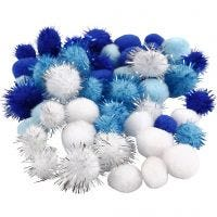 Pomponer, dia. 15+20 mm, lys blå, mørk blå, hvit, 48 ass./ 1 pk.