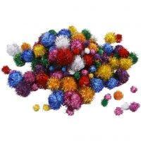 Pomponer, dia. 15-40 mm, glitter, sterke farger, 62 g/ 1 pk.